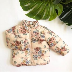 H&M Baby Girl Pink Floral Puffer Coat